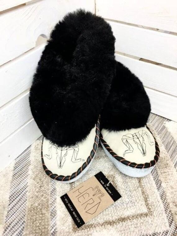 Black & Cream Leather Slippers. Women's Slippers. Genuine Leather Slippers. Warm Winter Slippers.