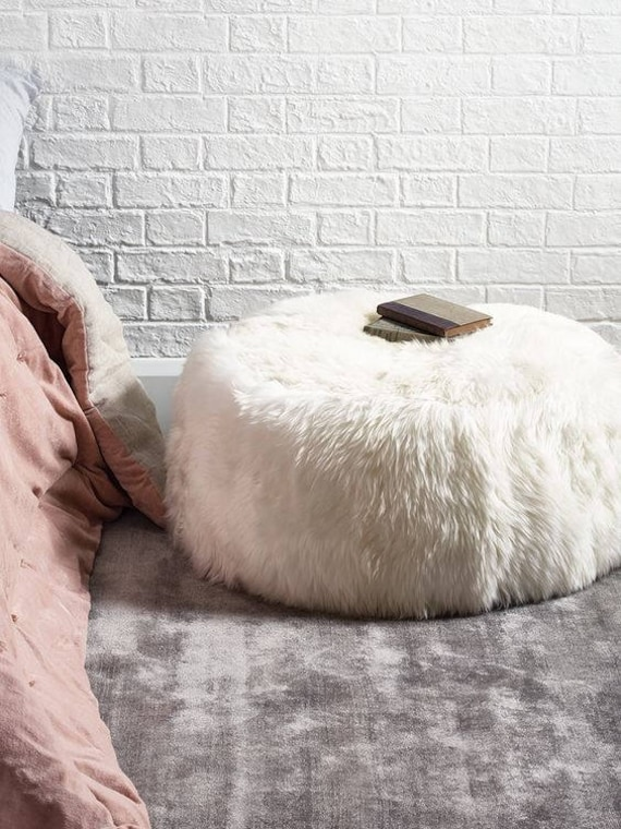 Real Sheepskin Pouf! Elegant & Luxurious Piece of Furniture!