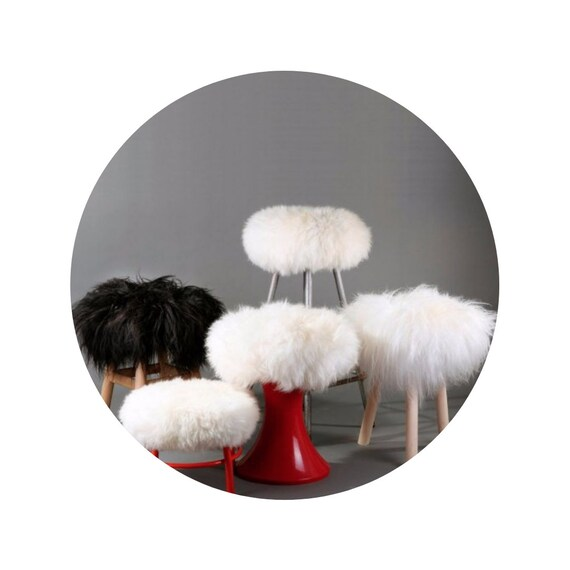 Sheepskin Stool Covers! Round / Square / Rectangle. Natural Sheepskin Chair Pads.