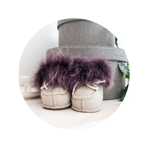 Baby Sheepskin Boots with Purple Fur.