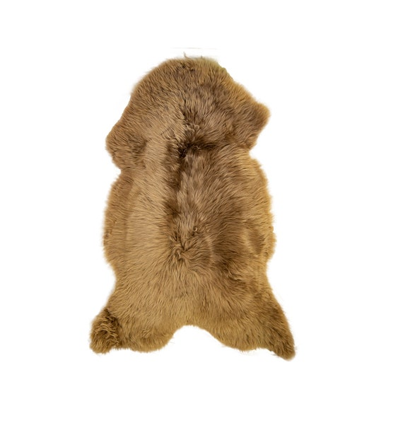 Honey Brown Natural Sheepskin Pelt. Throw Rug. Genuine Sheepskin Throw.