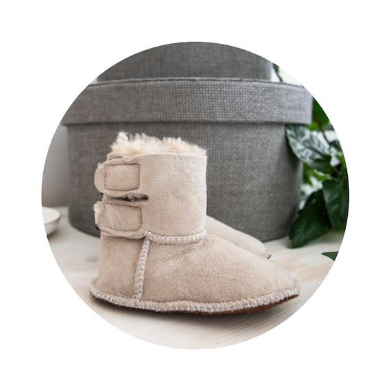 Gray Sheepskin Baby Boots