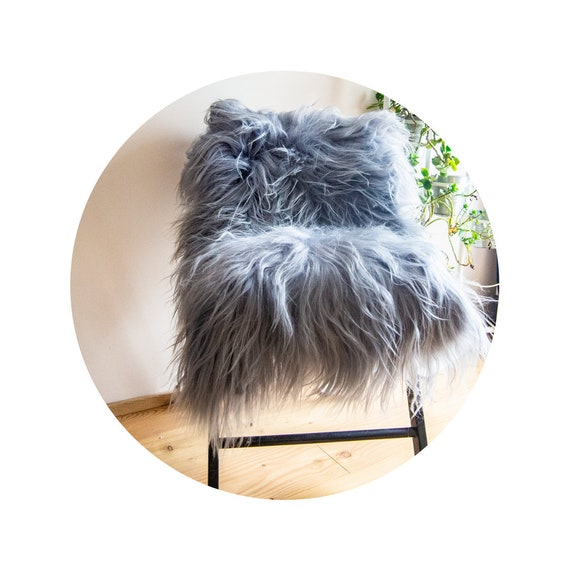 Gray Silver ICELAND Sheepskin. Very Long Hair.  Premium Quality! Soft and Luxurious