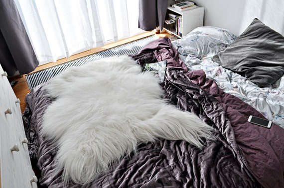 Very Big & Long Hair White ICELAND Sheepskin.  Premium Quality! Soft and Luxurious
