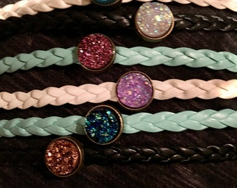 Druzy weaved Bracelets, we can do any color swap