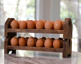 Egg Tray, Rustic Stackable Holder for Farm Fresh Eggs