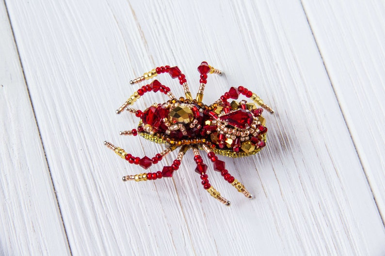 Spider Jewelry Pin Statement Jewelry Spider Brooch Gift For Wife Spider Pin Insect Red Jewelry,Red Spider Mothers day gift,Gift for mom