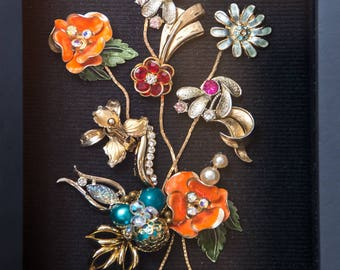 Vintage Jewelry, Vintage Jewlery Flower Arrangement - Shadow Box - Vintage Jewelry Artwork