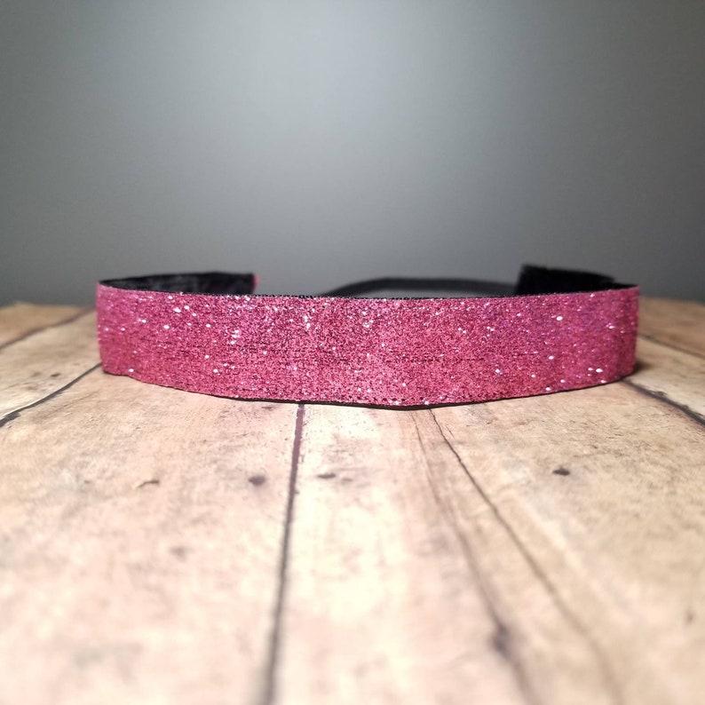 Pink Glitter Nonslip headbands for women no slip headband image 0