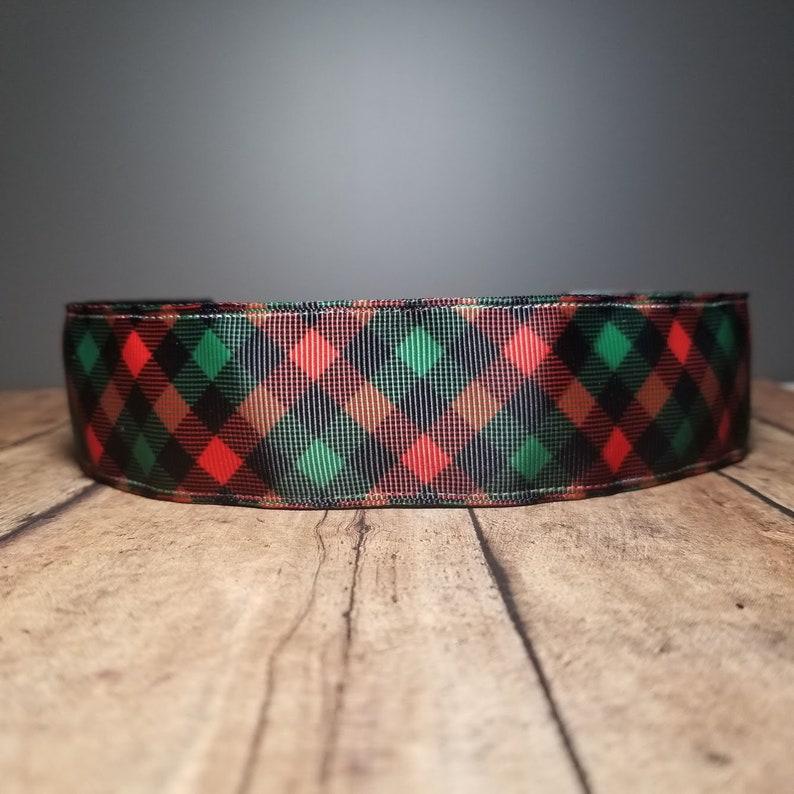 Red Green Plaid Wide Nonslip headbands for women no slip image 0