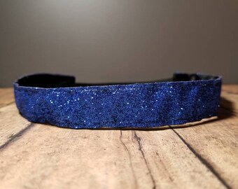 Blue Glitter Nonslip headbands for women, no slip headband, workout headband, Running headband, Sports Headband, Athletic headband for women