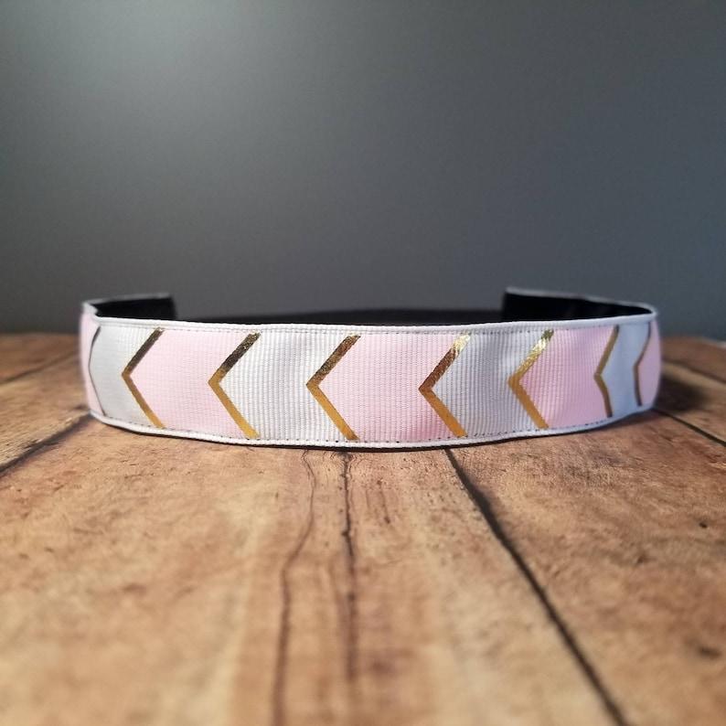Pink Chevron Nonslip headbands for women no slip headband image 0