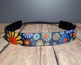 Hippy Flower Nonslip headbands for women, no slip headband, workout headband, Running headband, Sports Headband, Athletic headband for women