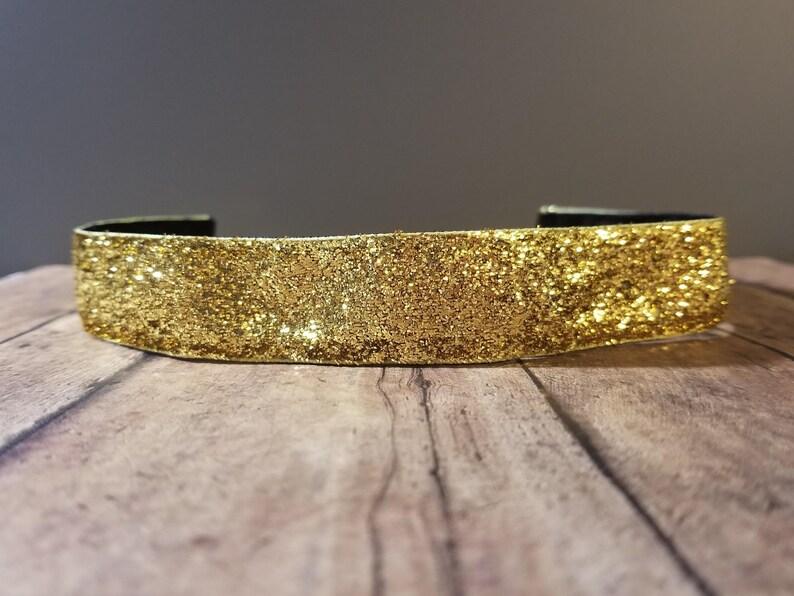 Yellow Glitter Nonslip headbands for women no slip headband image 0