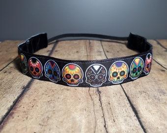 Sugar Skulls Nonslip headbands for women, button headband mask, workout headband, Running headband, Sports Headband, Athletic headband women