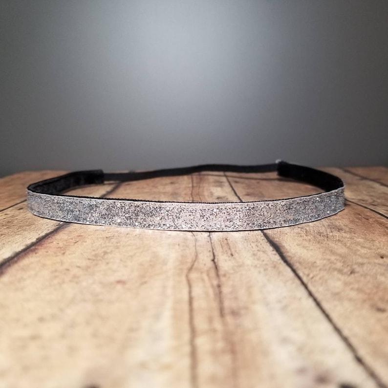 Skinny Silver Glitter Nonslip headbands no slip headband image 0