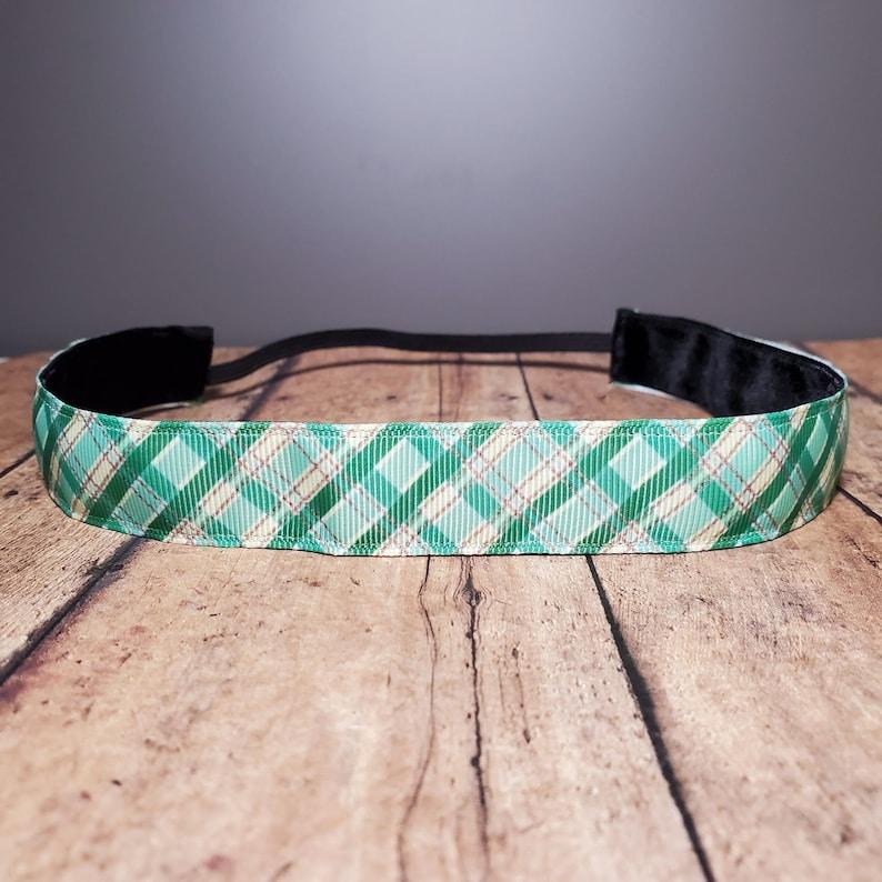 Green Plaid Nonslip headbands for women no slip headband image 0