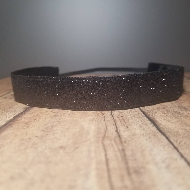 Black Glitter Nonslip headbands for women no slip headband image 0