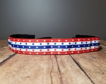 Patriotic Nonslip headbands for women, no slip headband, workout headband, Running headband, Sports Headband, Athletic headband for women