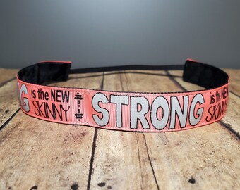 Strong is the new skinny Nonslip headbands for women, button headband mask, workout headband, Running headband, Sports Headband for women