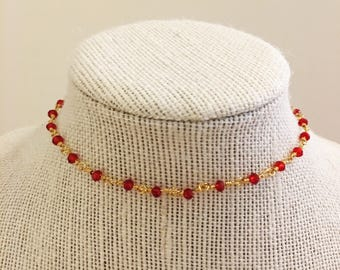 Red Rosary Choker