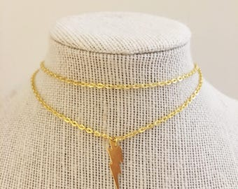 Double Wrap Gold Charm Choker