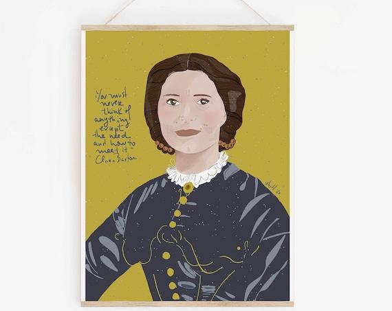Clara Barton Art Print | POSTER Ready to Frame ~ Wall Art ~ Nurse Inspiration