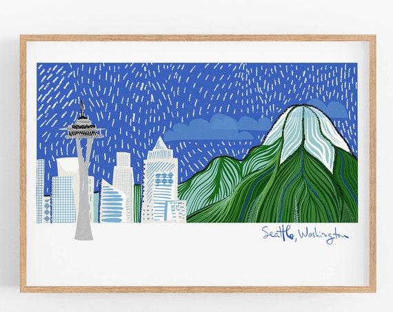Seattle Skyline ~ Fun Cubicle Decor~  Seattle Art Print | Father's Day Gift