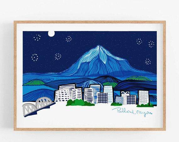 Portland Art Print | Skyline | Cubicle Decor | Father's Day Gift