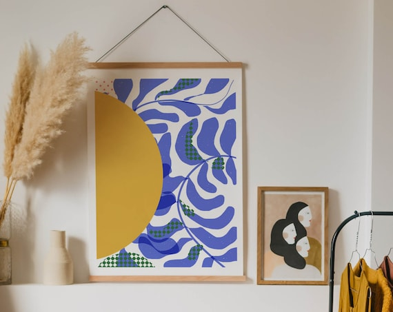 Sunny Abstract Art print, Ready to Frame contemporary Blue and Yellow Wall Art