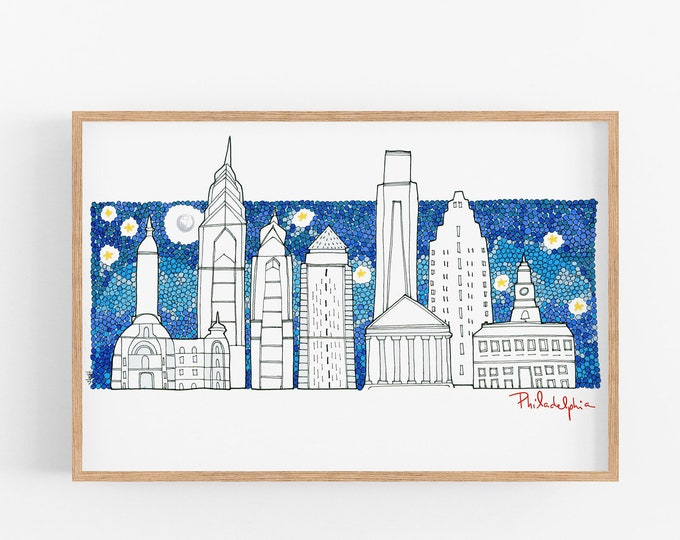 Philadelphia skyline illustration Wall Art Home Decor