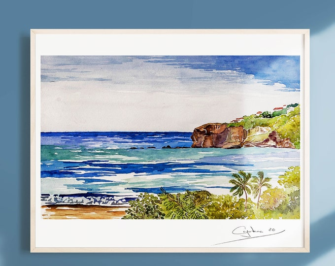 Featured listing image: A room with a view- San Juan del Sur- Watercolor Art Print- Travel Prints