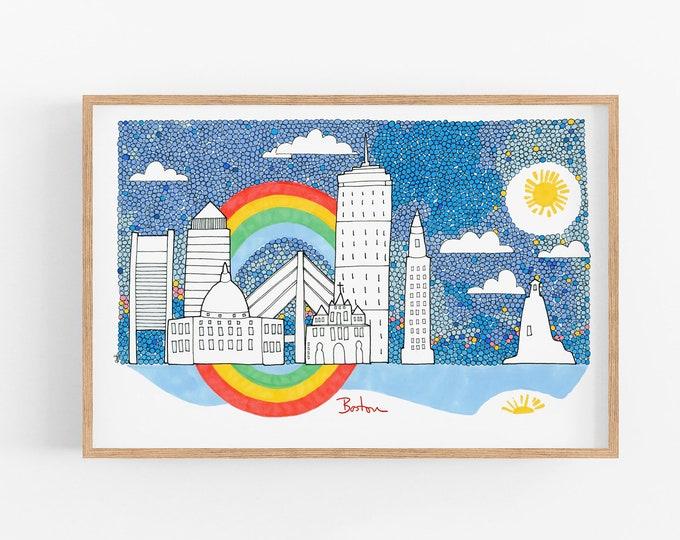 Boston skyline illustration - Wall art