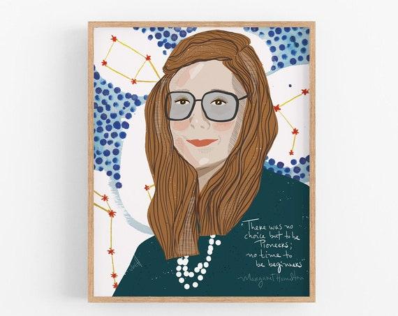 Margaret Hamilton Portrait Art Print Ready to Frame Office Decor Girl Power in Stem Inspiration