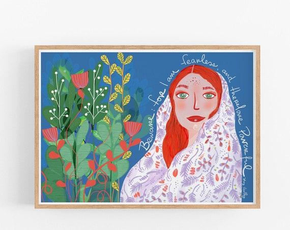 Feminine Wall Art, GIRL COVERED IN fearlessness, Boho Print, Bohemian Decor, Girl Bedroom Decor, Mary Shelley Quote