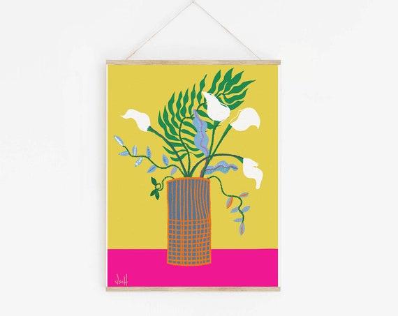 White Lillies | FLOWER Art print | Thoughtful Gifts | Girl Boss Office Art | Botanical Illustration