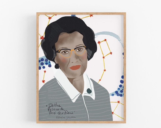 Featured listing image: Katherine Johnson Portrait Art Print ready to frame Dorm room decor girl in stem