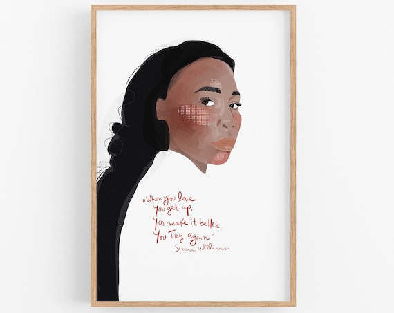 Serena Williams Art Print | Girl Power Wall Art | Fun Cubicle Decor