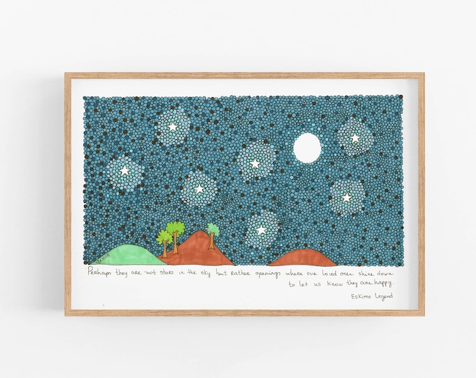 Art Print ready to frame| Cubicle Decor | Home office decor | Quote Poster |  Perhaps they are not stars in the sky but rather openings