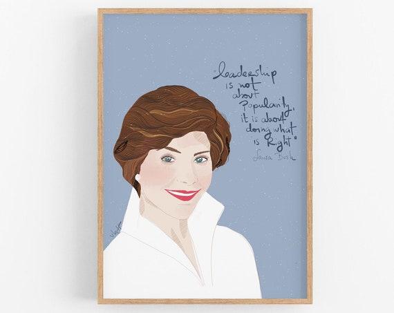 Laura Bush Celebrity Portraits Art Print, Cubicle Decor, Classroom Wall Art