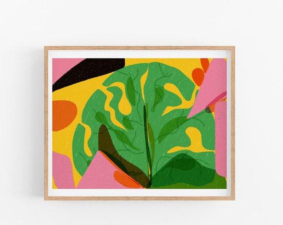 Monstera, Summer Inspired Artwork, Ready to Frame Wall Decor