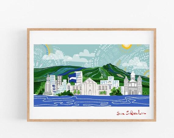 San Salvador Skyline | Digital Artwork | Wall Art Print