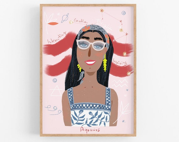 Zodiac girls Illustrated, Bedroom Art, Choose your sign