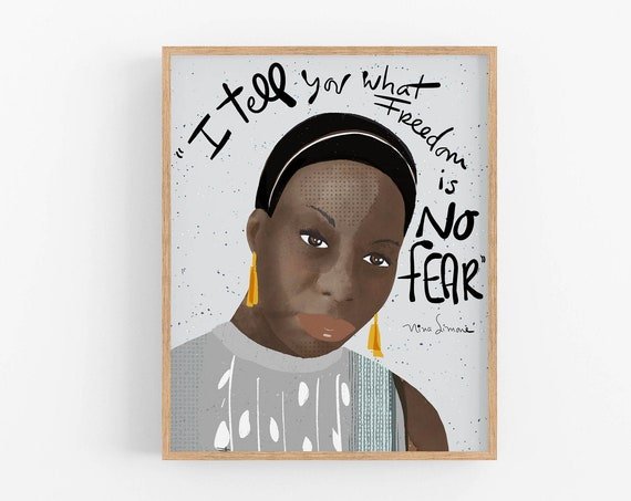 Nina Simone Art Print, Inspiring Women Iconic Artists Office Decor, Ready to Frame Print