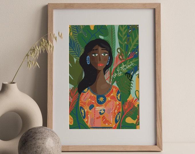 Green Art Print / Colorful Cubicle decor / Ready to frame artwork / Wall Decor feminine
