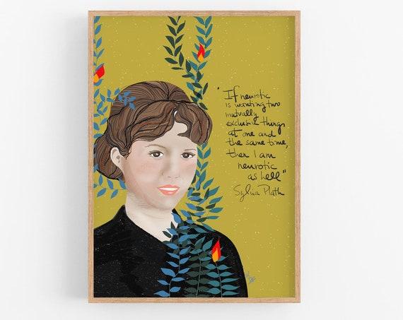 Sylvia Plath Art Print portrait, Cubicle Decor
