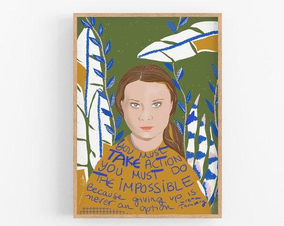 Greta Thunberg Art Print, Classroom wall Decor, Iconic Women Art