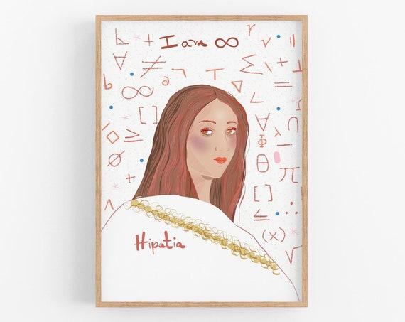 Hipatia, Inspiring women of antiquity, Dorm Room Wall Art, Science Cubicle Decor