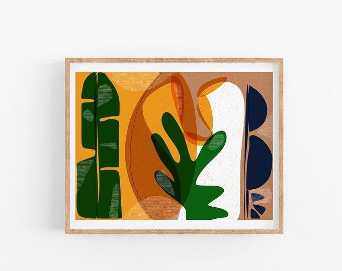 Mid Century Inspired Art print / Colorful home decor / Unique Cubicle or office wall art