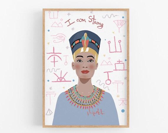 Nefertiti, Girl power Art Feminist Poster, Cubicle decor